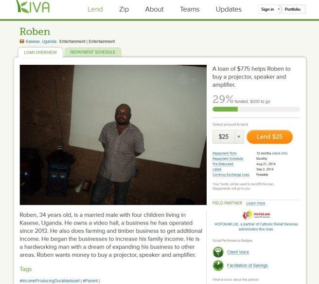 Kiva, Roben, Uganda